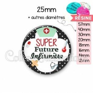 Cabochon en résine epoxy Super future infirmière (002NOI01)