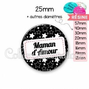 Cabochon en résine epoxy Maman d'amour (003NOI02)