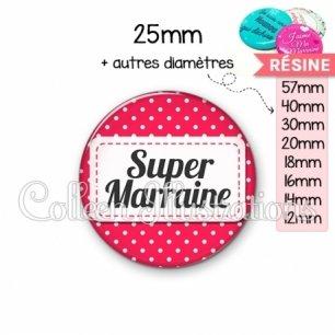 Cabochon en résine epoxy Super marraine (003ROS02)