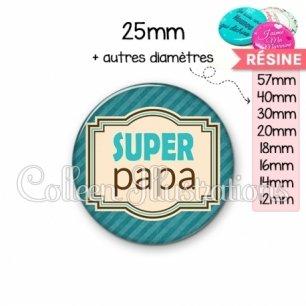 Cabochon en résine epoxy Super papa (004BLE01)
