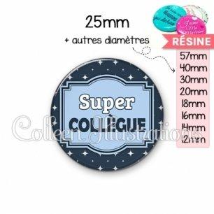 Cabochon en résine epoxy Super collègue (004BLE02)