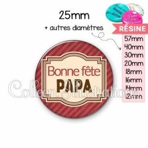 Cabochon en résine epoxy Bonne fête papa (004ROU01)