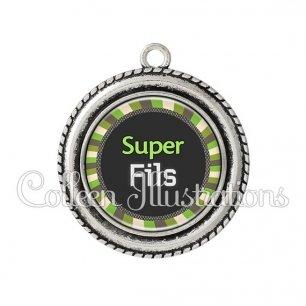 Pendentif résine Super fils (027VER01)