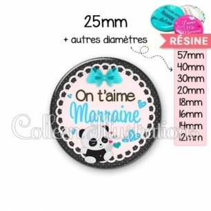 Cabochon en résine epoxy Marraine on t'aime (005BLE04)