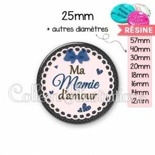 Cabochon en résine epoxy Mamie d'amour (005BLE07)