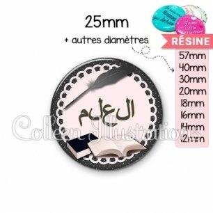 Cabochon en résine epoxy Plume livre écriture arabe (005NOI01)