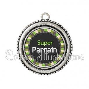 Pendentif résine Super parrain (027VER01)