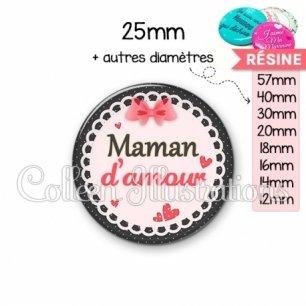 Cabochon en résine epoxy Maman d'amour (005ROS01)
