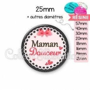 Cabochon en résine epoxy Maman douceur (005ROS01)