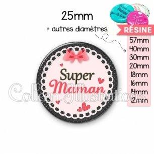 Cabochon en résine epoxy Super maman (005ROS01)