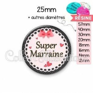 Cabochon en résine epoxy Super marraine (005ROS01)