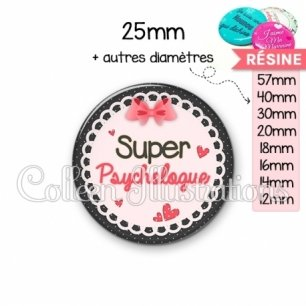 Cabochon en résine epoxy Super psychologue (005ROS01)