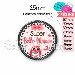 Cabochon en résine epoxy Super belle-maman (005ROS02)
