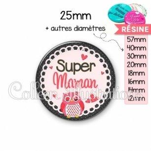 Cabochon en résine epoxy Super maman (005ROS02)