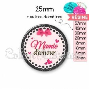 Cabochon en résine epoxy Mamie d'amour (005ROS04)