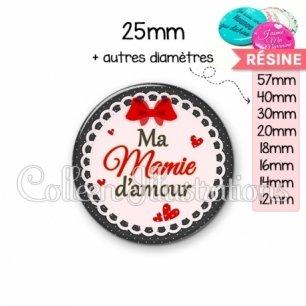 Cabochon en résine epoxy Mamie d'amour (005ROU01)