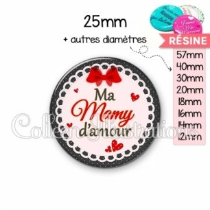 Cabochon en résine epoxy Mamy d'amour (005ROU01)