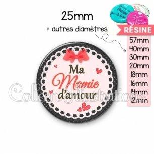 Cabochon en résine epoxy Mamie d'amour (005ROU05)