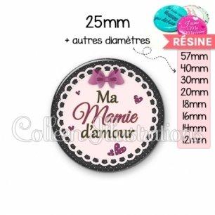 Cabochon en résine epoxy Mamie d'amour (005VIO01)