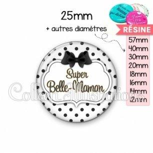 Cabochon en résine epoxy Super belle-maman (006BLA01)