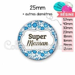 Cabochon en résine epoxy Super maman (006BLE02)