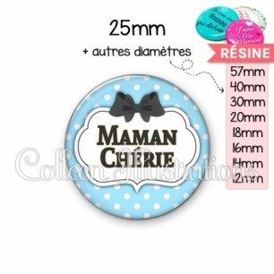 Cabochon en résine epoxy Maman chérie (006BLE08)
