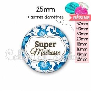Cabochon en résine epoxy Super maîtresse (006BLE11)