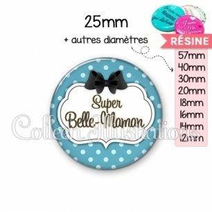 Cabochon en résine epoxy Super belle-maman (006BLE12)