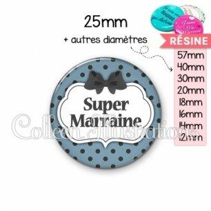 Cabochon en résine epoxy Super marraine (006BLE25)