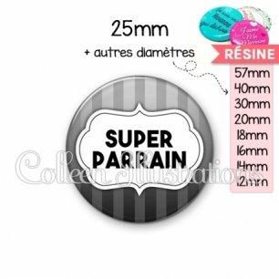 Cabochon en résine epoxy Super parrain (006GRI10)