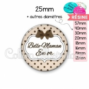 Cabochon en résine epoxy Belle-maman en or (006MAR07)