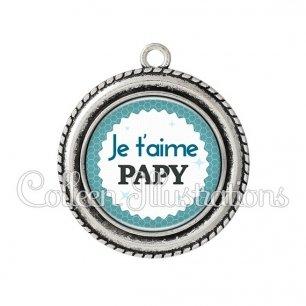 Pendentif résine Je t'aime papy (028BLE02)
