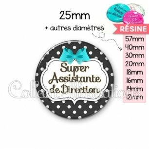 Cabochon en résine epoxy Super assistante de direction (006NOI03)