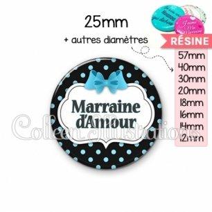 Cabochon en résine epoxy Marraine d'amour (006NOI05)