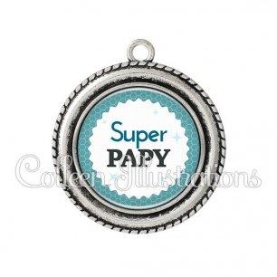 Pendentif résine Super papy (028BLE02)