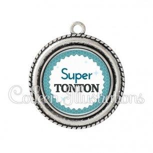 Pendentif résine Super tonton (028BLE02)