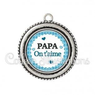 Pendentif résine Je t'aime papa (028BLE03)