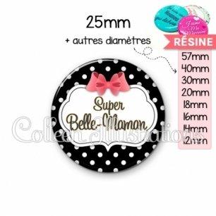 Cabochon en résine epoxy Super belle-maman (006NOI13)