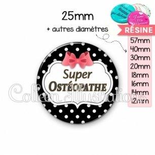 Cabochon en résine epoxy Super osthéopathe (006NOI13)