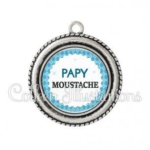 Pendentif résine Papy moustache (028BLE03)