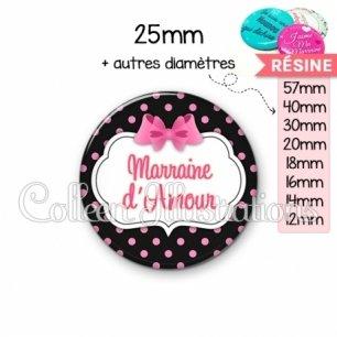 Cabochon en résine epoxy Marraine d'amour (006NOI21)