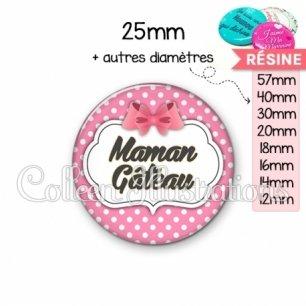Cabochon en résine epoxy Maman gâteau (006ROS02)