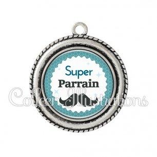 Pendentif résine Super parrain (028BLE04)
