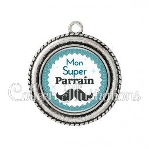 Pendentif résine Mon super parrain (028BLE04)