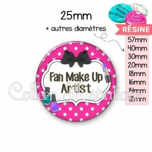 Cabochon en résine epoxy Fan make up artist (006ROS04)