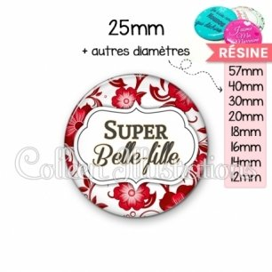 Cabochon en résine epoxy Super belle-fille (006ROU01)