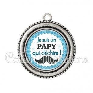 Pendentif résine Papy qui déchire (028BLE06)