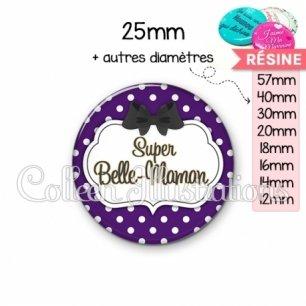 Cabochon en résine epoxy Super belle-maman (006VIO11)