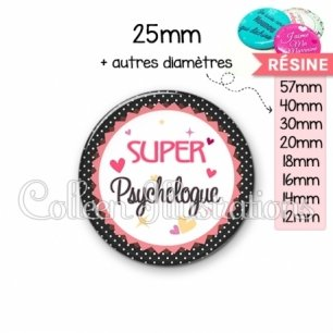 Cabochon en résine epoxy Super psychologue (007NOI01)