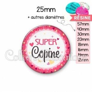 Cabochon en résine epoxy Super copine (007ROS01)